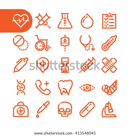 Fat Line Icon set for web and mobile. Modern minimalistic flat design elements of Healthcare and medical equipment. Pharmacy and health. - stock vector