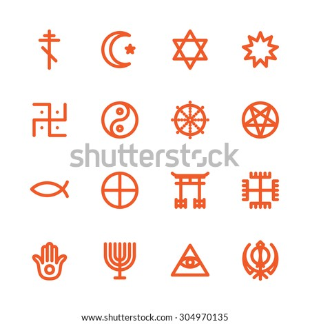Fat Line Icon set for web and mobile. Modern minimalistic flat design elements of world religious symbols - stock vector