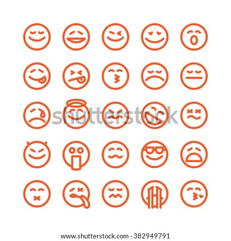 Fat Line Icon Set of emoticons for web and mobile. Modern minimalistic flat design elements of emoji isolated on white background, vector illustration. - stock vector