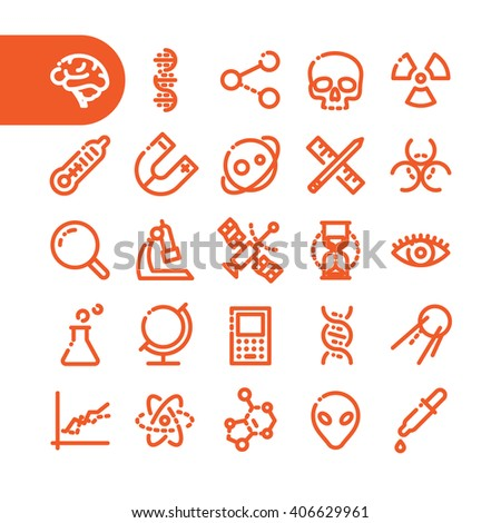 Fat Line science Icon set for web and mobile. Modern minimalistic flat design elements of scientific equipment, biotechnology, genome testing, physical and chemistry materials research - stock vector
