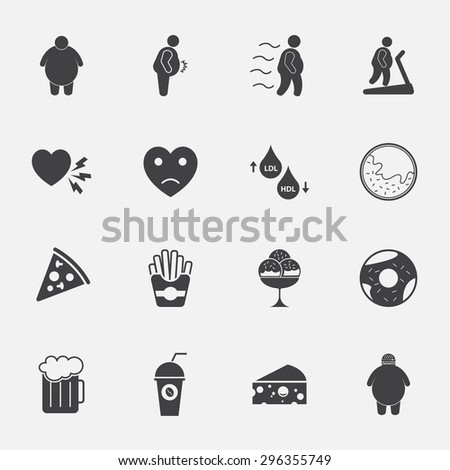 fat man and junk food icons set. - stock vector