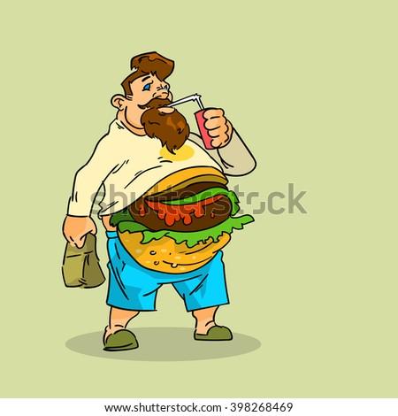 Fat Man Eat Burger Sandwich Soda Soft Drink Junk Unhealthy Fast Food Concept Big Stomach Obesity Weight Problem Flat Vector Illustration - stock vector