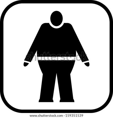 Fat man figure vector icon  - stock vector