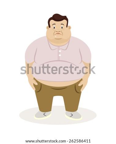 Fat man. Vector flat illustration  - stock vector