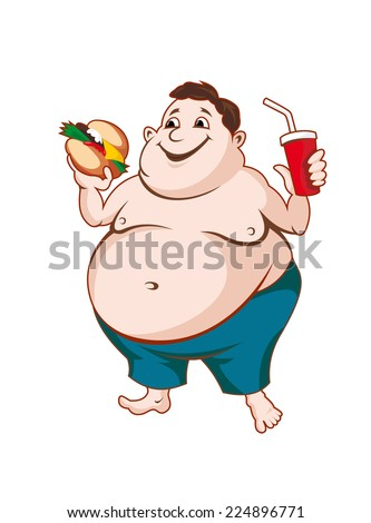 Fat man with fast food isolated on white background - stock vector
