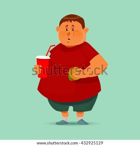 fat man with hamburger and soda, concept illustration, cartoon character, vector - stock vector