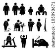 Fat Man Woman Kid Child Couple Obesity Overweight Icon Symbol Sign Pictogram - stock photo