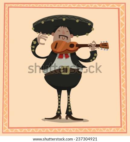 Fat Mariachi with a guitar, vector - stock vector