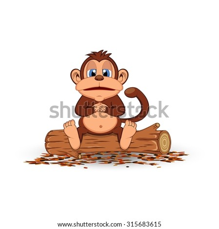 Fat monkey sitting in a wood cartoon - stock vector