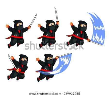 Fat Ninja Attacking Sprite - stock vector