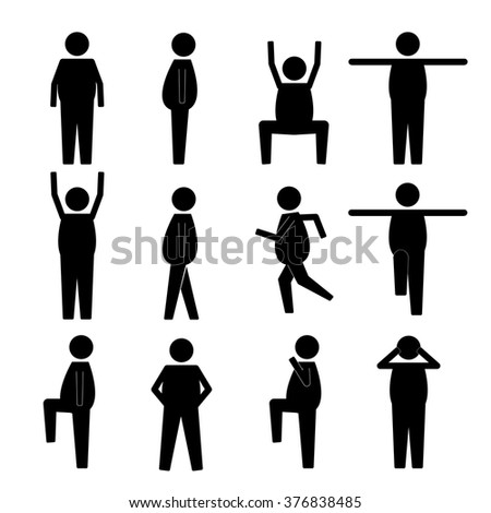 Fat Obese Human Action Poses Postures Stick Figure Pictogram Icons