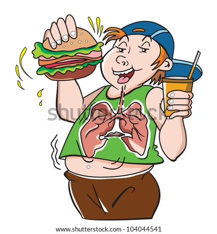 Fat Teenager, with Hamburger Sandwich and Drink, Bad for the Lungs, vector illustration - stock vector