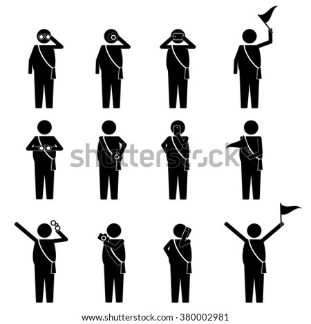 fat tourist and visitor on group activity infographic icon vector sign Symbol pictogram