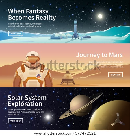 Fat vector web banners on the theme of astronomy, space exploration, colonization of space. Solar System exploration. The first colonies. Modern flat design. - stock vector