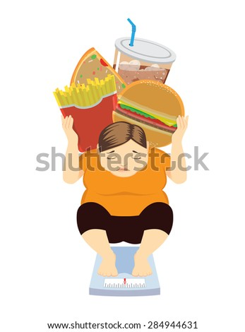 Fat Woman have weight gone up because her like eat junk food, healthcare concept - stock vector