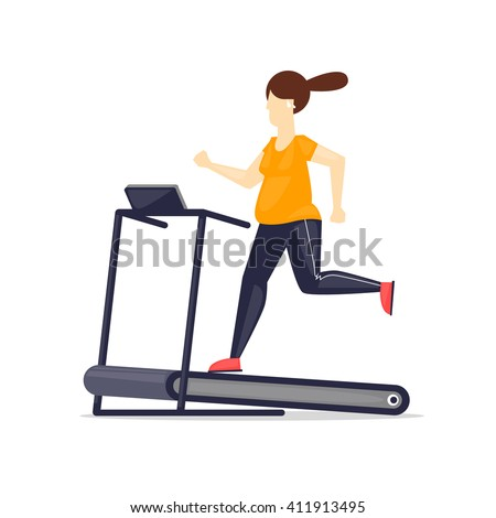 Fat woman running on treadmill, sport, fitness, athletics, healthy lifestyle. Cartoon. Vector illustration flat design. - stock vector
