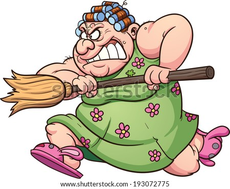 Fat woman running with a broom. Vector clip art illustration with simple gradients. All in a single layer.