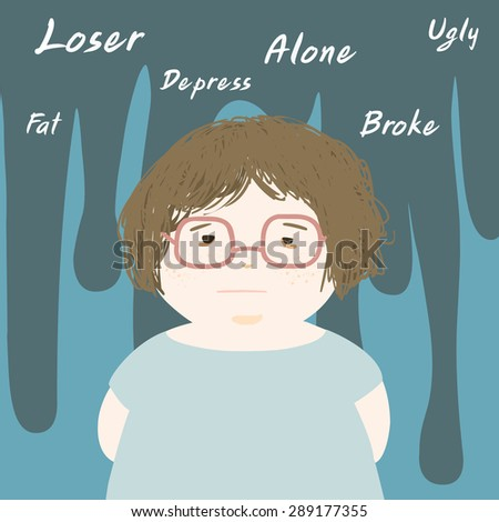 fat woman sad and thinks negative vector illustration - stock vector