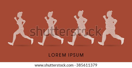 Fat woman turning into Thin designed using line graphic vector. - stock vector