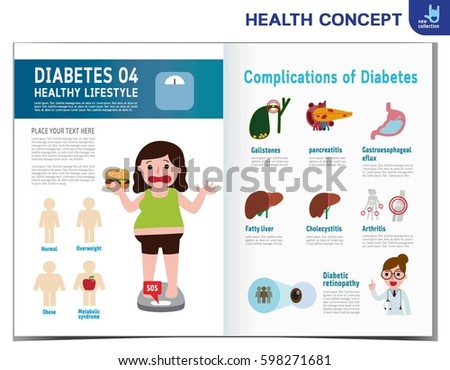 Fat Woman With Diabetes. Diabetic Infographics Elements. Medical Healthcare  Concept. Obese. Vector