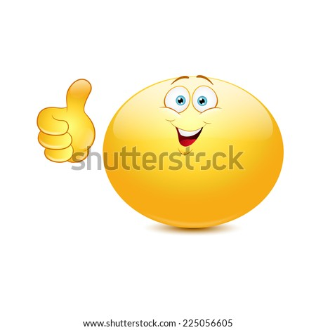 Fat yellow ball showing thumb up. Vector - stock vector