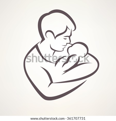 father and baby isolated vector symbol - stock vector