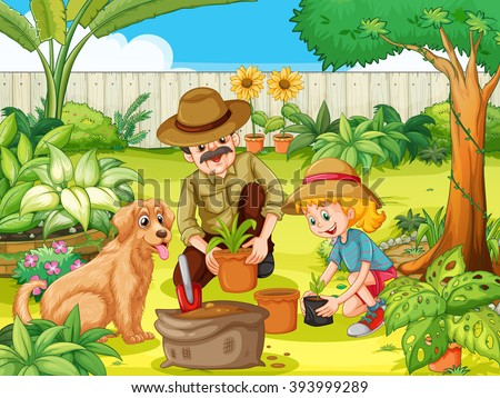 Father and daughter planting tree in garden illustration - stock vector