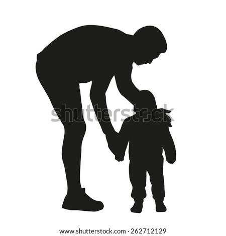 Father and kid. Vector silhouette - stock vector