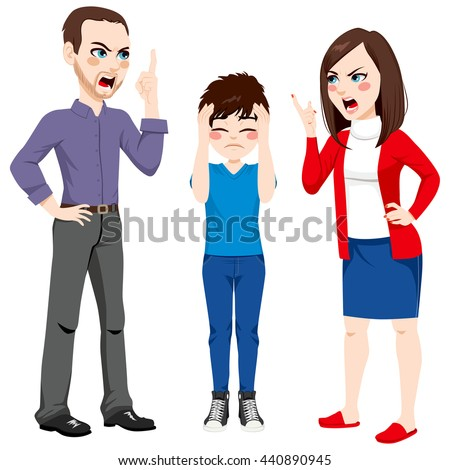 Father and mother arguing and son sad for the conflict - stock vector