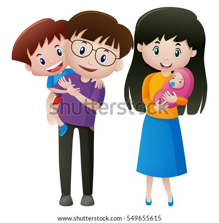Father and mother with two kids illustration