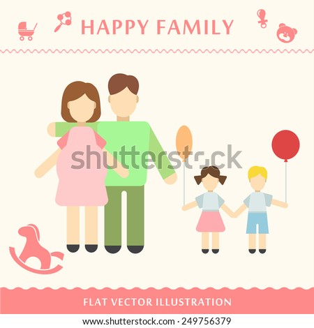 Father and pregnant women happy family concept Vector illustration of a modern flat style - stock vector