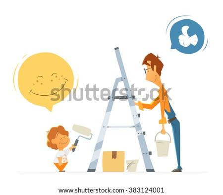 Father and son kid child boy work together. Home house flat apartment repair vector color illustration. Isolated on white background.