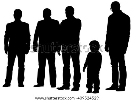 Father and son out for a walk on white background