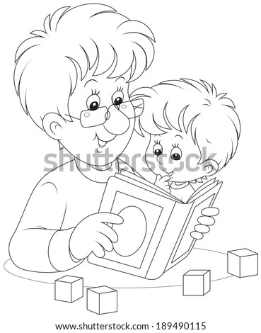 Father and son reading a book - stock vector