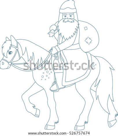Father Frost With Gift Bag Riding On A Horse Coloring Page