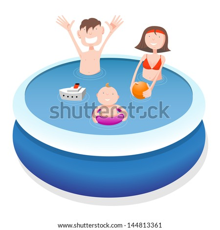 Father, mother and child in pool, cartoon illustration - stock vector