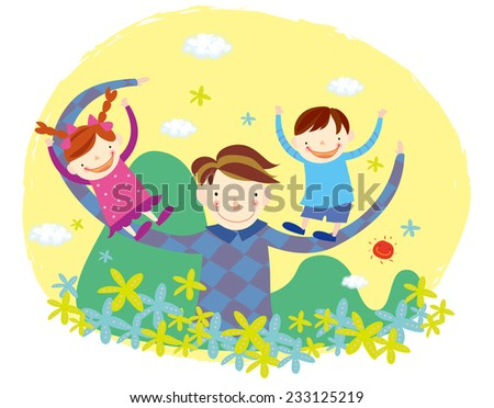 father playing with children. Father's day. - stock vector