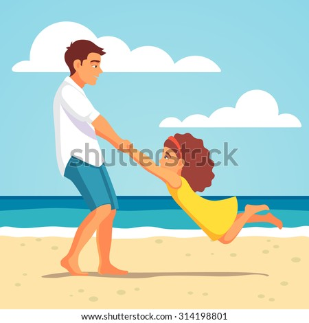 Father playing with his child daughter on the beach. Spinning her holding hands. Vector flat style isolated cartoon illustration. - stock vector