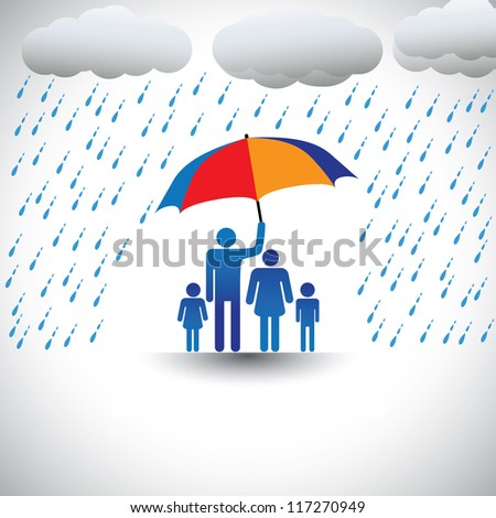 Father protecting family from heavy rain with umbrella. The graphic represents father holding a colorful umbrella covering his family which includes his wife & children(concept of caring, love, etc) - stock vector
