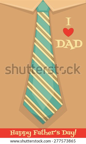 Father's Day Card with Big Tie. Flat Design. Retro Style. Vector Illustration. - stock vector