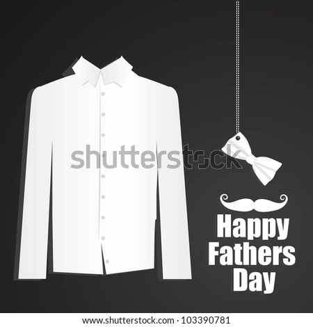 Father's Day card with formal attire with bow tie - stock vector