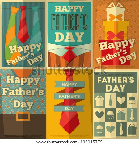 Father's Day Posters Set. Flat Design. Retro Style. Vector Illustration. - stock vector