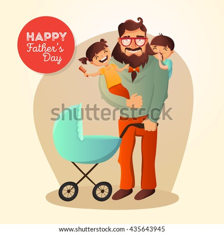 Father's Day vector concept. Illustration with happy family: father, daughter, son and small baby in the cradle. Hipster man with his children. - stock vector