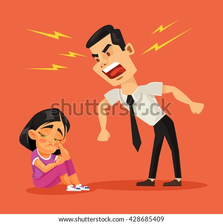 Father scolds his daughter. Vector flat cartoon illustration - stock vector