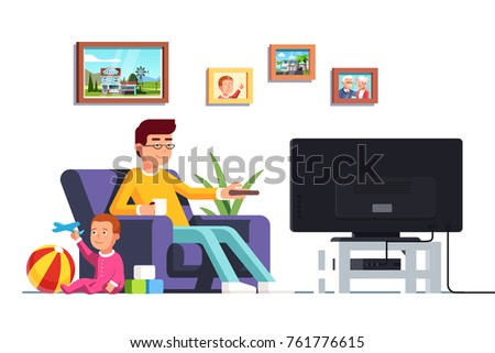 Father sitting on armchair watching tv switching channels with remote looking after baby son playing toys. Babysitter man sitting with toddler kid boy in living room. Flat vector isolated illustration