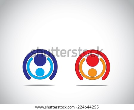father & son or mother and daughter hugging each other emotionally - family relationship fathers day mothers day concept illustration simple art set - stock vector