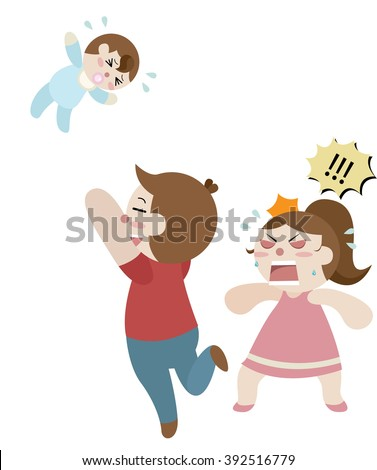 father throw his baby to the sky too high and his wife stand beside him cartoon vector  - stock vector
