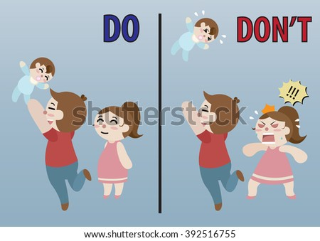 father throw his baby to the sky too high and his wife stand beside him comparison do and do not cartoon vector  - stock vector