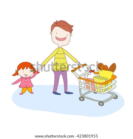 Father with daughter in a sling pushing supermarket shopping cart full of groceries. Flat style vector illustration isolated on white background.