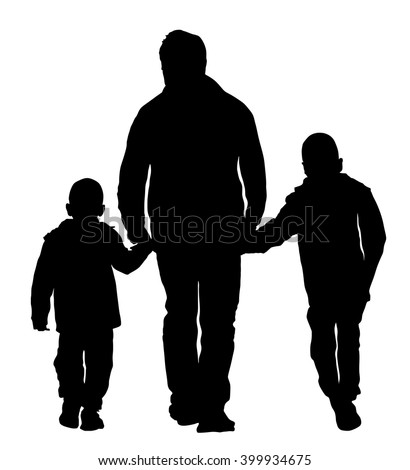 Father with kids vector silhouette illustration isolated on white background. Dad and two sons walking the street and holding hands. - stock vector